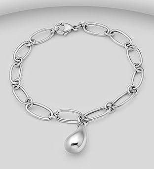 925 Sterling Silver Bracelet with a Solid Charm.